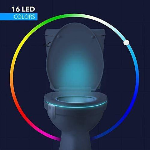 Image of LED Night Lights - Advanced 16-Color Motion Sensor LED Toilet Bowl Night, Internal Memory, Light Detection, White