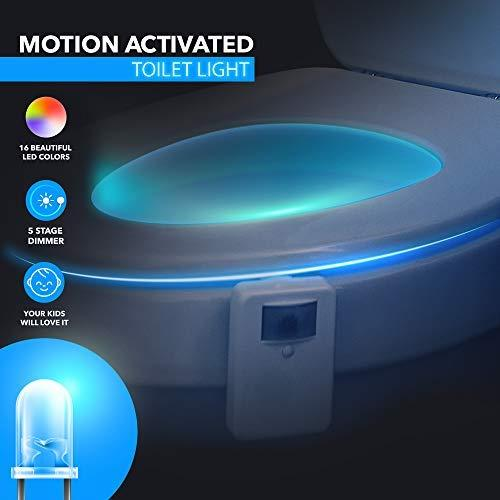 LED Night Lights - Advanced 16-Color Motion Sensor LED Toilet Bowl Night, Internal Memory, Light Detection, White