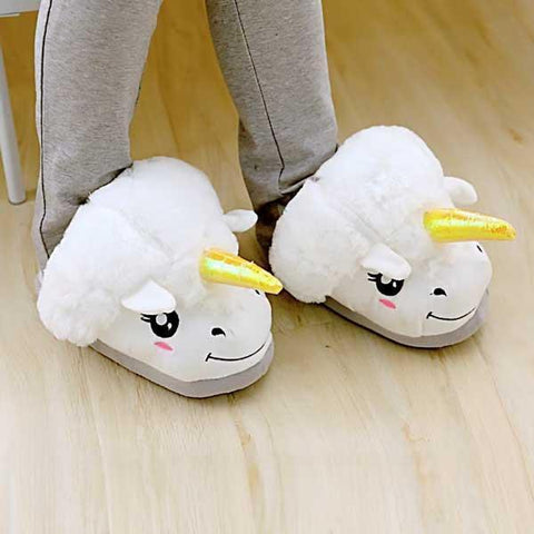 Image of Slippers - Unicorn Plush Slippers (Various Colors & Sizes)