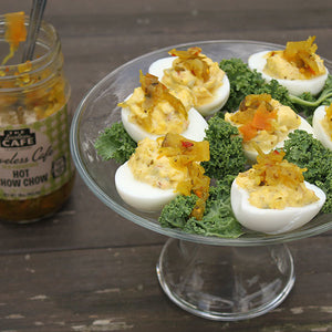 Loveless Cafe Hot Chow Chow Relish on deviled eggs