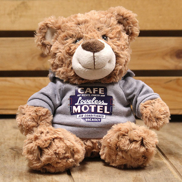 Plush Teddy Bear with Loveless Cafe Motel Sign Shirt