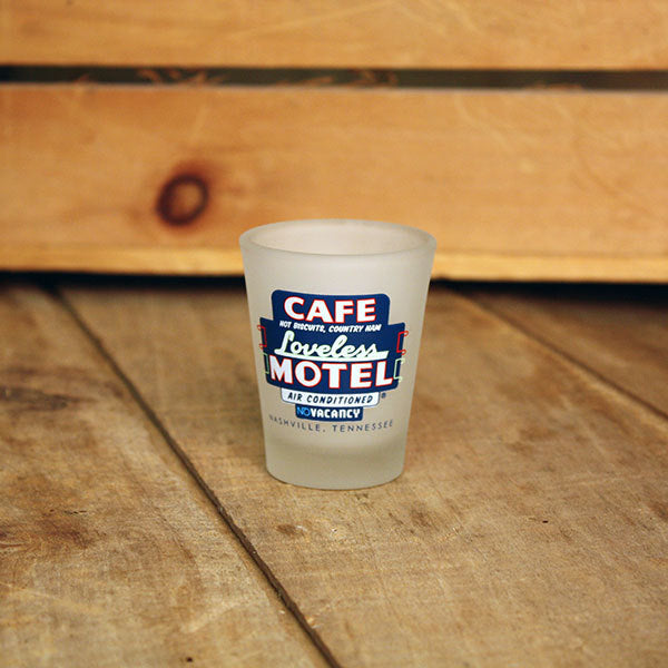 Loveless Cafe Shot Glass - Motel Sign design
