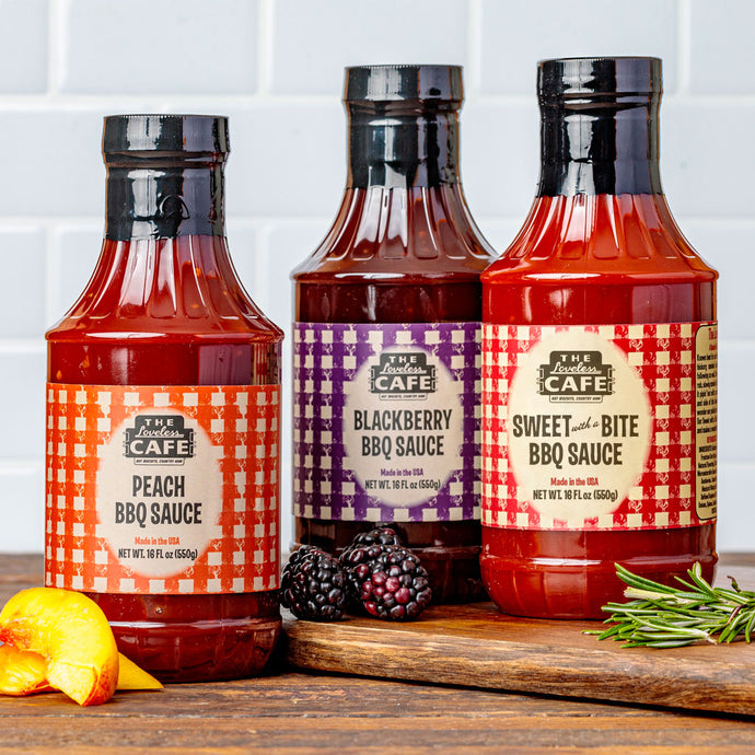 Barbecue sauce gift set with sweet bbq sauce, peach bbq sauce, and blackberry bbq sauce