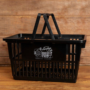plastic market basket with cafe illustration