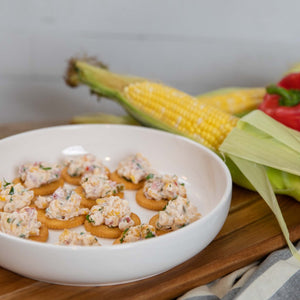 Calico Corn Dip on Crackers