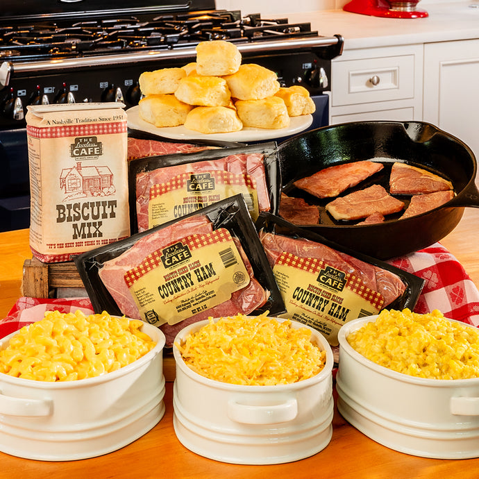 southern family brunch meal kit - country ham, biscuits, sides