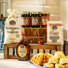 Load image into Gallery viewer, Favorite Fixins Southern Breakfast Gift Set - Biscuits, Waffle Mix, Pancake Mix, Preserves