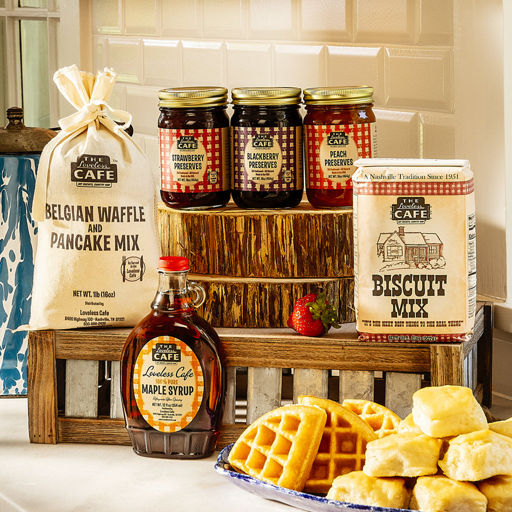 Favorite Fixins Southern Breakfast Gift Set - Biscuits, Waffle Mix, Pancake Mix, Preserves