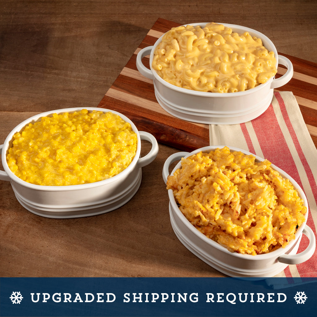 southern side dishes - creamed corn, hashbrown casserole, mac and cheese