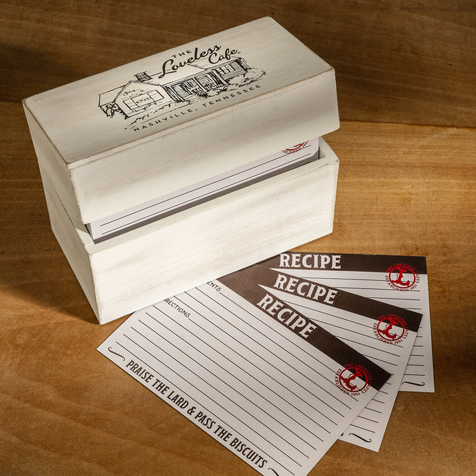 Loveless Cafe Illustration Wood Recipe Box With Recipe Cards