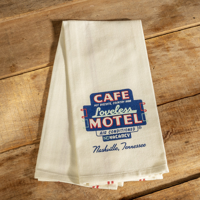 Loveless Cafe Motel Neon Sign Kitchen Tea Towel