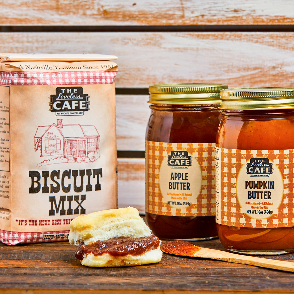 Loveless Cafe Butter My Biscuits Gift Set with Biscuit Mix, Pumpkin Butter, Apple Butter