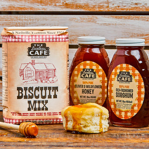 Loveless Cafe Sticky Biscuits Gift Set - Biscuit Mix, Honey, and Sorghum