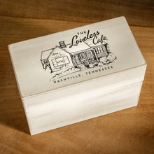 Load image into Gallery viewer, Primitive Farmhouse Style Recipe Box With Loveless Cafe Lid