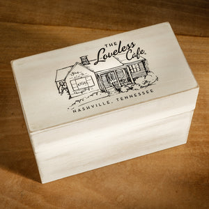 Primitive Farmhouse Style Recipe Box With Loveless Cafe Lid
