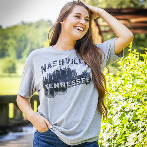 Nashville Music City Guitar Skyline Tee Shirt