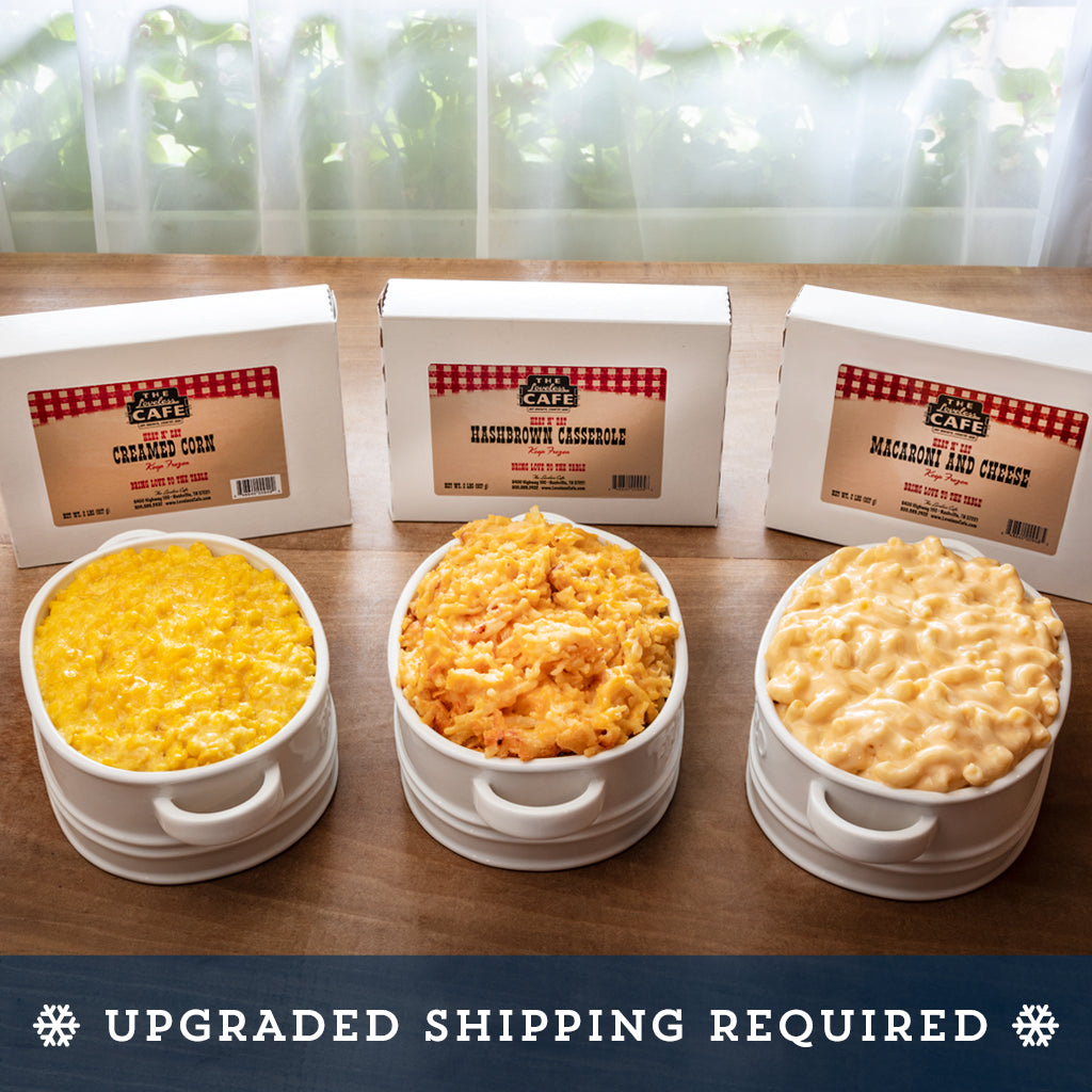 frozen gourmet side dishes - creamed corn, hashbrown casserole, mac and cheese
