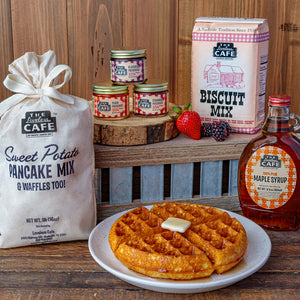 sweet southern breakfast gift set with sweet potato pancake mix, syrup, biscuit mix, and jams