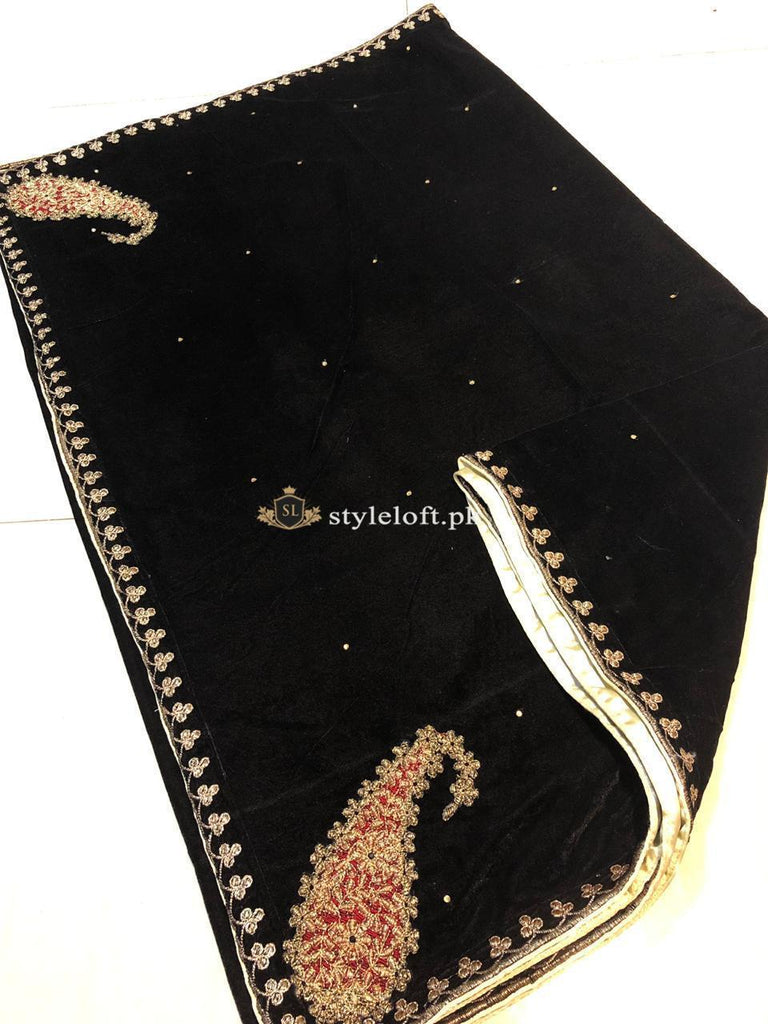 2 Side Big Kari Design Embroidered Velvet Shawl Black 3999 00 Pkr Style Loft