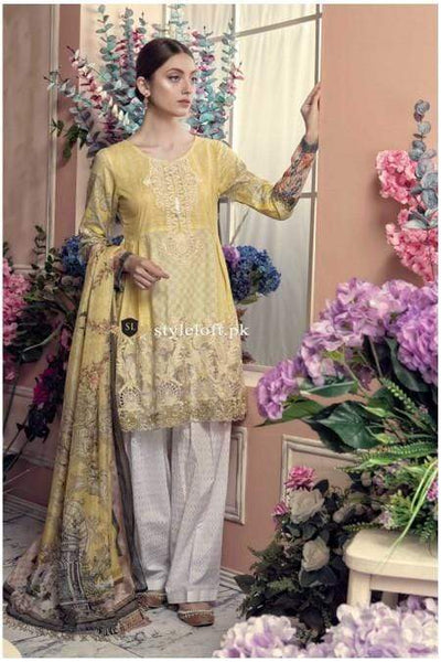 STYLE LOFT.PK Aayra Embroidered Lawn Unstitched 3 Piece Suit AY19L 01A - Spring / Summer Collection