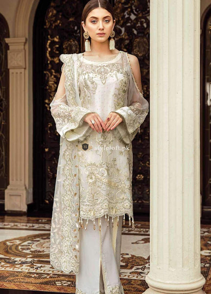STYLE LOFT.PK Afrozeh Embroidered Chiffon Unstitched 3 Piece Suit AF19C 03 OCEAN PEARL - Luxury Collection