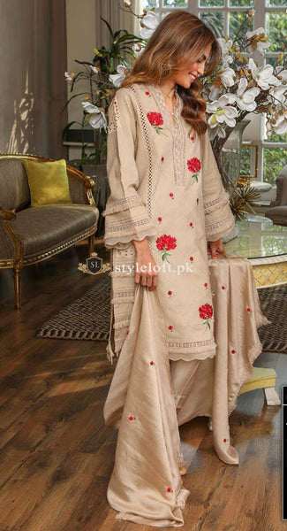Agha Noor Embroidered Unstitched 3 Piece Lawn Suit - Luxury Collection