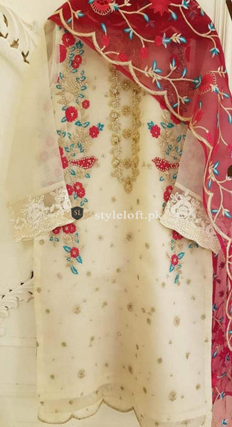 STYLE LOFT.PK Agha Noor Embroidered Unstitched 3Pc Organza Suit with Chiffon Dupatta