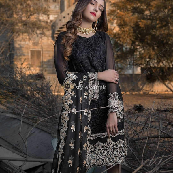 Aghna Noor Embroidered Lawn Unstitched 3 Piece Suit Modest Black