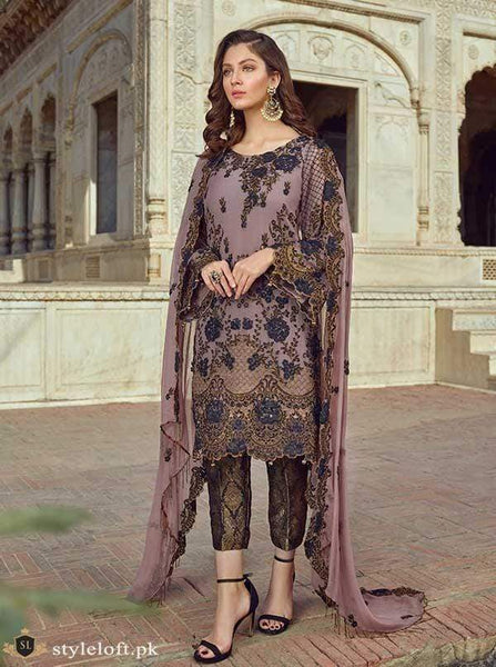 STYLE LOFT.PK Akbar Aslam Chiffon Collection Unstitched 3PC Suit 09 Lavender Blue