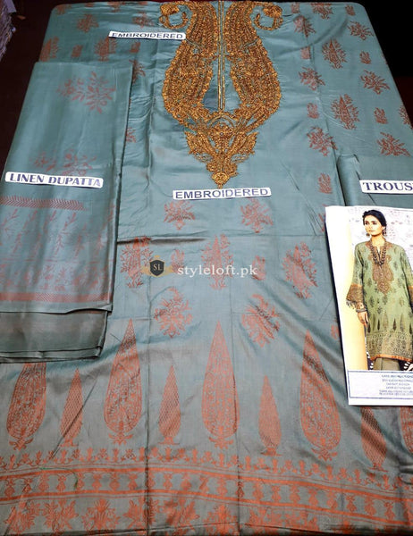 STYLE LOFT.PK Alkaram Studio Festive Linen Collection Unstitched 3PC Suit FC-5B