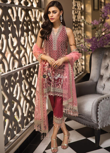 STYLE LOFT.PK Anaya by Kiran Chaudhry Embroidered Chiffon Unstitched 3 Piece Suit La Belle Soirée-Roselle 19-05