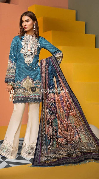 STYLE LOFT.PK Anaya By Kiran Chaudhry Embroidered Lawn Unstitched 3 Piece Suit AKC19VL 07 CLARA - Spring / Summer Collection