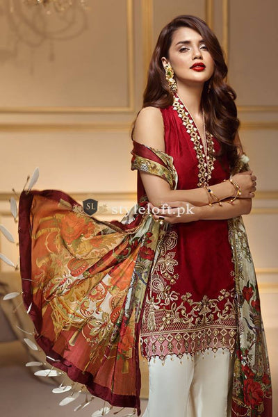 Anaya Festive Lawn Embroidered Collection 3Pc Suit AN-6F
