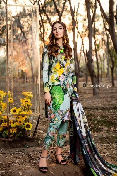 Asifa & Nabeel Embroidered Lawn Unstitched 3 Piece Suit AN18W Sunflowers