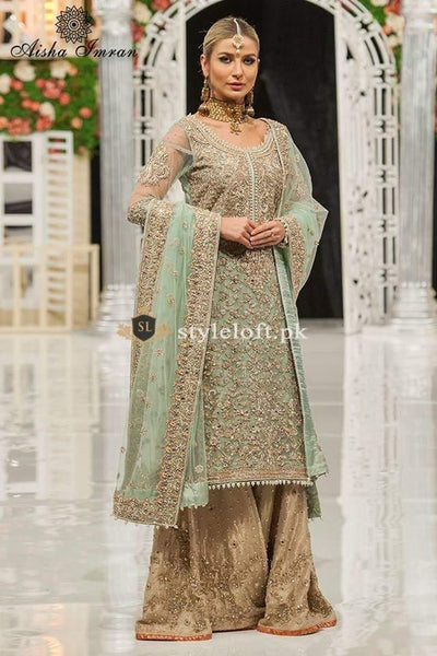 STYLE LOFT.PK Ayesha Imran Bridal Wear Suit with Gharara - Luxury Net Collection 2019