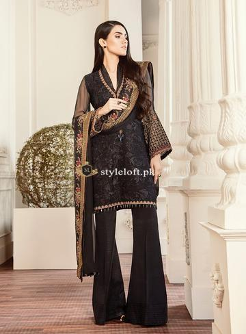 Baroque Chantelle Chiffon Collection 2019 Unstitched 3 Piece Suit -Black Lalique