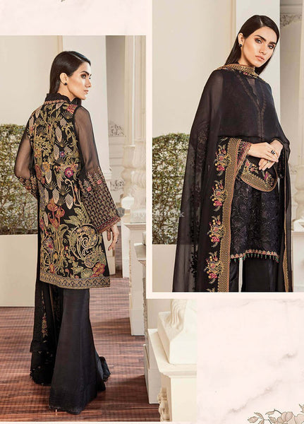 Baroque Embroidered Chiffon Unstitched 3 Piece Suit BQC-03 Black Lalique - Luxury Collection