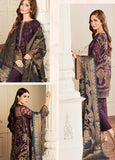 Baroque Embroidered Chiffon Unstitched 3 Piece Suit BQC-10 Amethyst - Luxury Collection