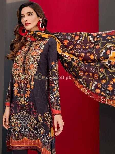Baroque Lawn Unstitched Embroidered 3Pc Dress Vol-2 D-07 Charme