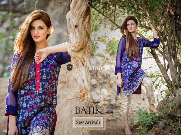 Batik Winter-2018 Linen 3Piece-Blue