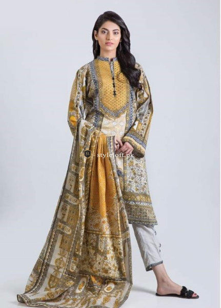 STYLE LOFT.PK Bonanza Satrangi Lawn Collection 2019 3Pc Suit Mustard Garden-B