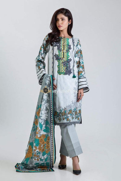 STYLE LOFT.PK Bonanza Satrangi Lawn Collection 2019 3Piece Suit Oak Wood-B