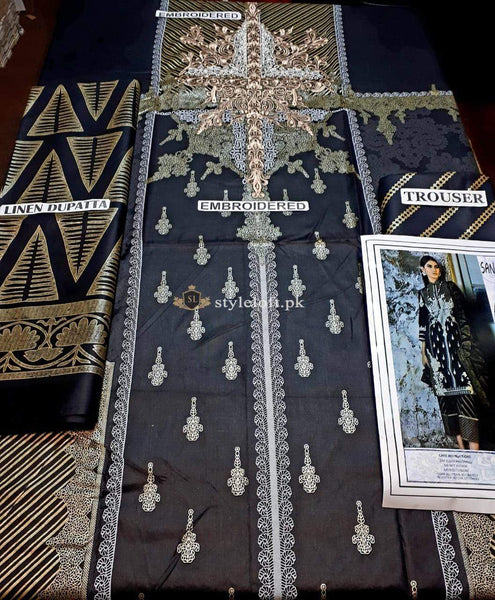 STYLE LOFT.PK Buy Sana Safinaz Kurnool Linen Unstitched 3PC Suit SS-B191 Black