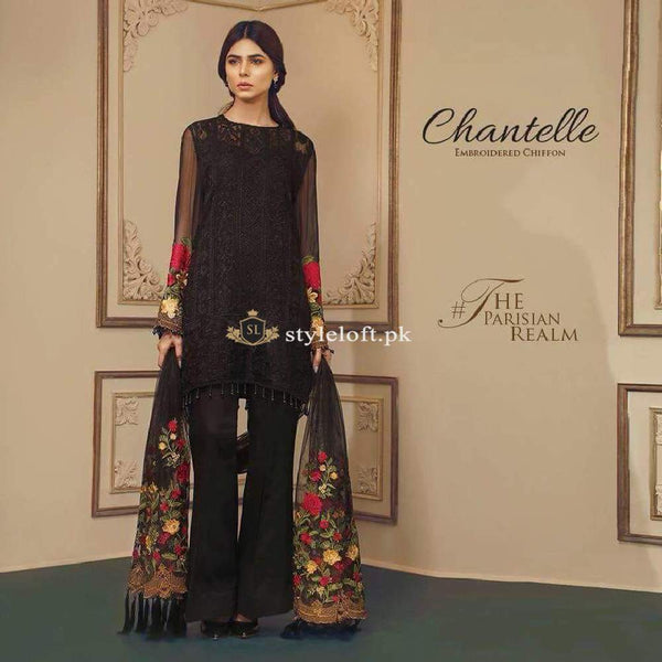 Chantelle Embroidered Chiffon Collection Parsian-Realm Black Suit