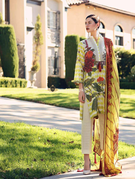 Charizma Embroidered Lawn Collection 2019 3Pc Suit CK-50
