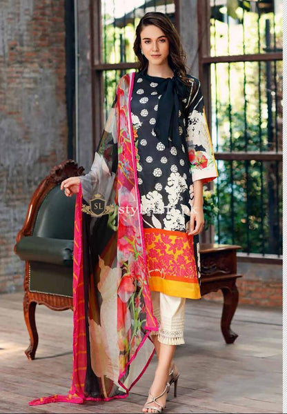 STYLE LOFT.PK Charizma Embroidered Lawn Unstitched 3 Piece Suit CRZ19BW 07 - Black And White Collection