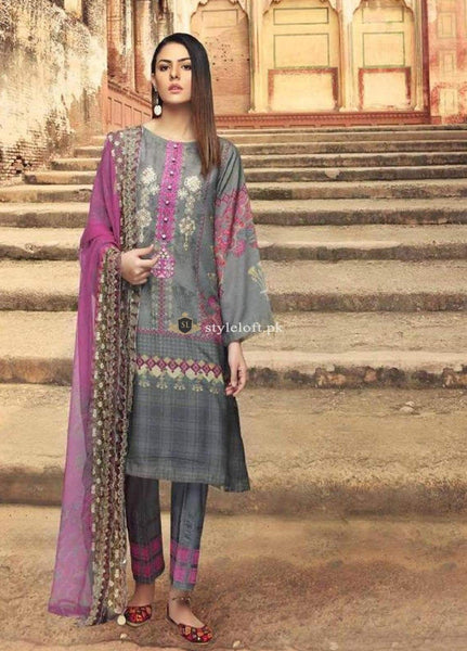 STYLE LOFT.PK Charizma Naranji Embroidered Linen Unstitched 3 Piece Suit CN-06