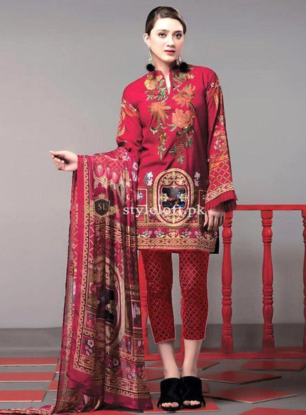 Ethnic Lawn Collection 3Pc Embroidered ETH-19-Red