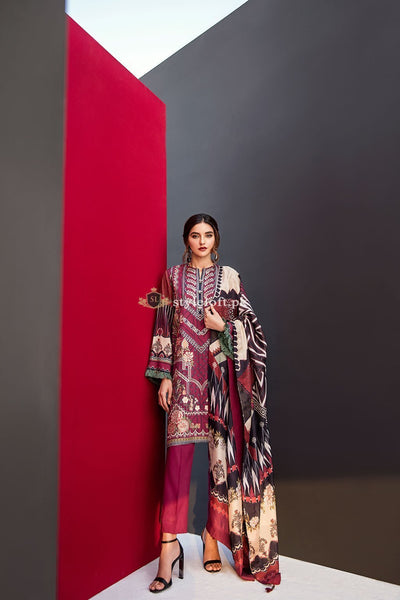 Fuchsia By Baroque Embroidered Lawn 3Pc Suit Liaison-02