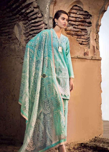 c1aa7a8f99 PK Gul Ahmed Eid Chikankari Lawn Collection 2019 3Piece Suit GA1901 ...